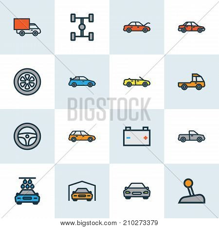 Automobile Colorful Outline Icons Set. Collection Of Cabriolet, Carcass, Shed And Other Elements