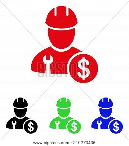 Worker Salary icon. Vector illustration style is a flat iconic worker salary symbol with black, red, green, blue color variants. Designed for web and software interfaces.