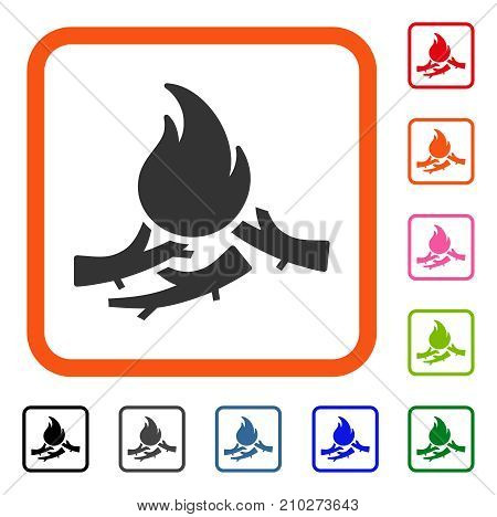 Bastard Campfire icon. Flat gray iconic symbol inside an orange rounded square. Black, gray, green, blue, red, orange color variants of Bastard Campfire vector.