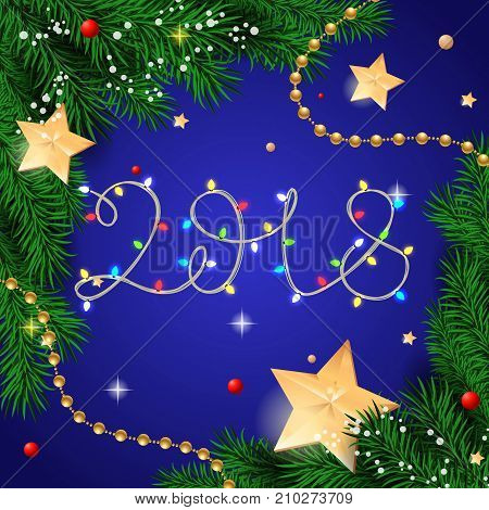 2018 lettering. Creative inscription illuminated with Christmas lights on blue background. Handwritten text, calligraphy. Can be used for greeting cards, posters and leaflets