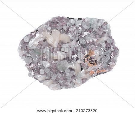 Apophyllite crystals with stilbite clusters on matrix, isolated on white background