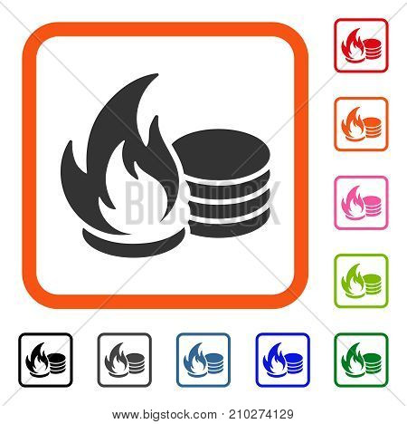 Coins Fire Disaster icon. Flat grey pictogram symbol inside an orange rounded frame. Black, gray, green, blue, red, orange color variants of Coins Fire Disaster vector.