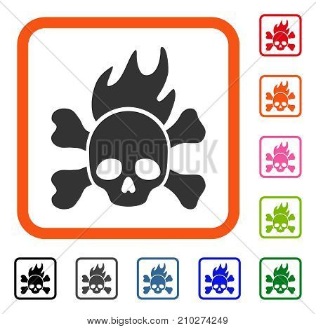 Death Fire icon. Flat grey iconic symbol in an orange rounded square. Black, gray, green, blue, red, orange color additional versions of Death Fire vector. Designed for web and application interfaces.
