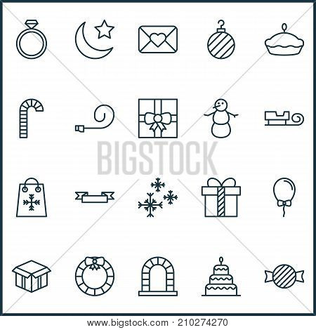 Christmas Icons Set. Collection Of Flan, Dessert, Crescent And Other Elements