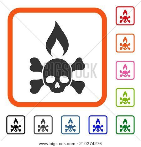 Death Ignition icon. Flat gray iconic symbol in an orange rounded square. Black, gray, green, blue, red, orange color additional versions of Death Ignition vector.