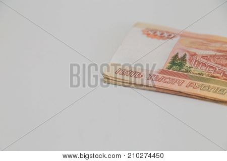 five thousand rubles close up on white background
