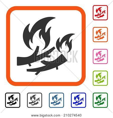 Firewood Fire icon. Flat gray iconic symbol inside an orange rounded square. Black, gray, green, blue, red, orange color variants of Firewood Fire vector. Designed for web and app UI.