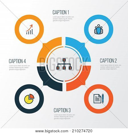 Business Colorful Outline Icons Set. Collection Of Financial Profit, Network, Agreement And Other Elements