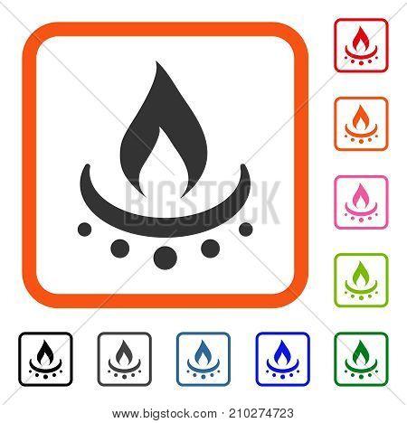 Gas Burner Jet Flame icon. Flat grey pictogram symbol in an orange rounded square. Black, gray, green, blue, red, orange color versions of Gas Burner Jet Flame vector.