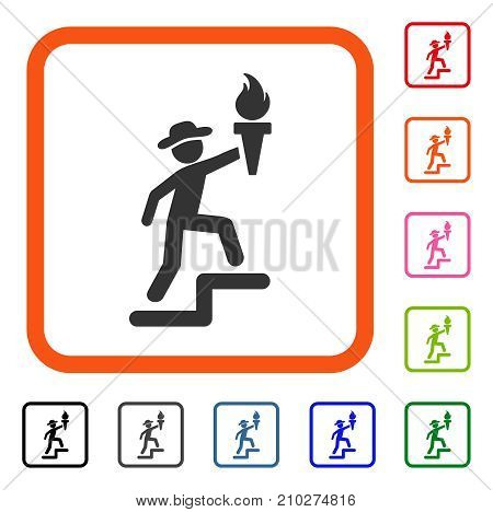 Gentleman Climbing With Torch icon. Flat gray pictogram symbol inside an orange rounded square. Black, gray, green, blue, red, orange color additional versions of Gentleman Climbing With Torch vector.