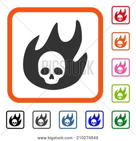 Hell Fire icon. Flat grey pictogram symbol inside an orange rounded square. Black, gray, green, blue, red, orange color versions of Hell Fire vector. Designed for web and software interfaces.