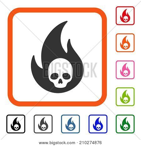 Hell Fire icon. Flat grey pictogram symbol inside an orange rounded rectangle. Black, gray, green, blue, red, orange color versions of Hell Fire vector. Designed for web and software user interface.