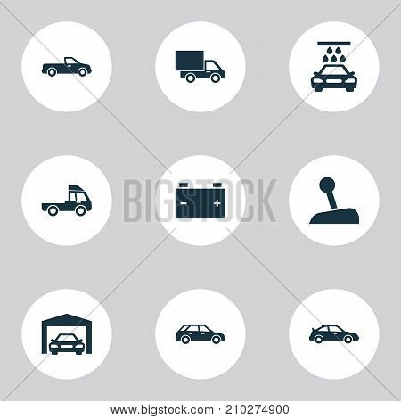 Car Icons Set. Collection Of Hatchback, Carriage, Accumulator And Other Elements