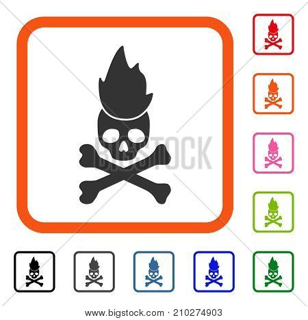 Hell Fire icon. Flat gray iconic symbol in an orange rounded squared frame. Black, gray, green, blue, red, orange color variants of Hell Fire vector. Designed for web and software user interface.