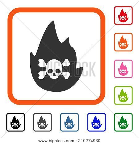 Hellfire icon. Flat grey iconic symbol inside an orange rounded rectangular frame. Black, gray, green, blue, red, orange color versions of Hellfire vector. Designed for web and software interfaces.