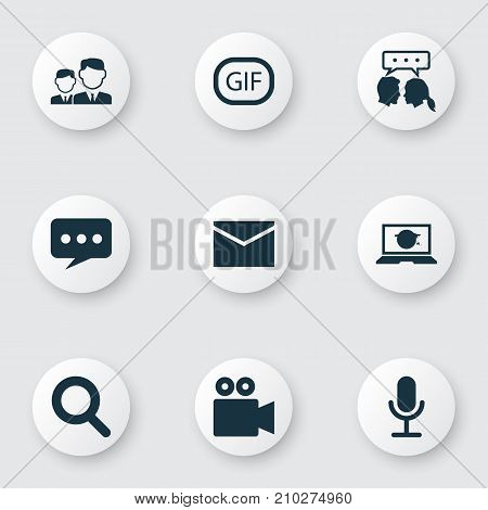 Media Icons Set. Collection Of Video Chat, Message, Camcorder And Other Elements