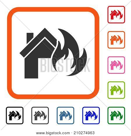 Home Fire Disaster icon. Flat gray pictogram symbol in an orange rounded rectangular frame. Black, gray, green, blue, red, orange color versions of Home Fire Disaster vector.