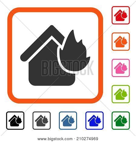 Home Fire Disaster icon. Flat grey iconic symbol inside an orange rounded rectangular frame. Black, gray, green, blue, red, orange color variants of Home Fire Disaster vector.