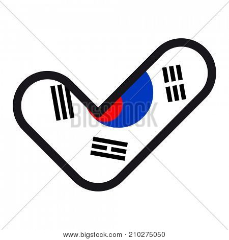 Flag of South Korea in the shape of check mark, sign approval, symbol of elections, voting.