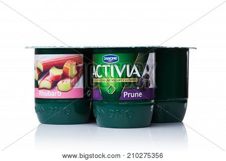 London, Uk - October 20, 2017: Pack Of Activia Yogurt With Rhubarb And Prune On White. Activia Is A
