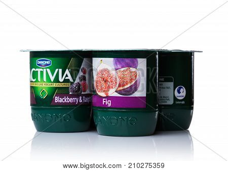 London, Uk - October 20, 2017: Pack Of Activia Yogurt With Fig And Berries On White. Activia Is A Br