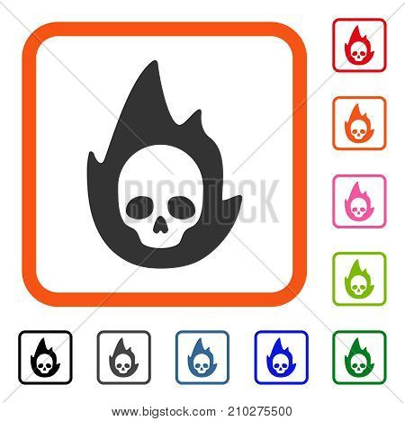 Mortal Flame icon. Flat grey pictogram symbol inside an orange rounded frame. Black, gray, green, blue, red, orange color versions of Mortal Flame vector. Designed for web and application interfaces.