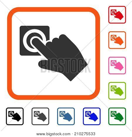 Push Alarm Button icon. Flat gray pictogram symbol in an orange rounded rectangle. Black, gray, green, blue, red, orange color additional versions of Push Alarm Button vector.