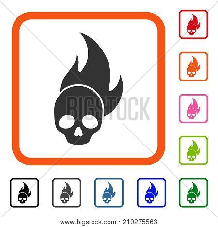 Skull Fire icon. Flat grey iconic symbol inside an orange rounded rectangle. Black, gray, green, blue, red, orange color variants of Skull Fire vector. Designed for web and software interfaces.