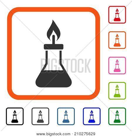 Spirit Lamp Fire icon. Flat grey pictogram symbol inside an orange rounded rectangle. Black, gray, green, blue, red, orange color variants of Spirit Lamp Fire vector.