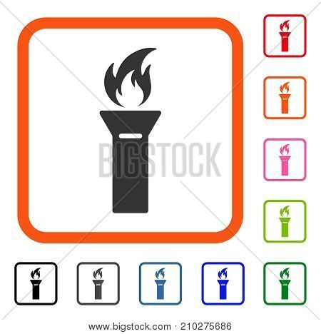Torch Flame icon. Flat gray pictogram symbol in an orange rounded rectangle. Black, gray, green, blue, red, orange color variants of Torch Flame vector. Designed for web and application UI.