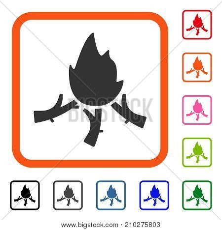 Wood Campfire icon. Flat gray iconic symbol inside an orange rounded squared frame. Black, gray, green, blue, red, orange color additional versions of Wood Campfire vector.