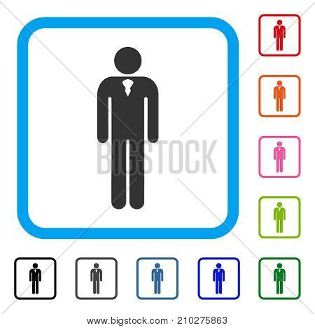 Gentleman icon. Flat grey pictogram symbol in a light blue rounded squared frame. Black, gray, green, blue, red, orange color variants of Gentleman vector. Designed for web and software UI.