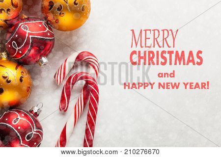 Greeting Card With Christmas And New Year. The Inscription Merry Christmas And Happy New Year On A W