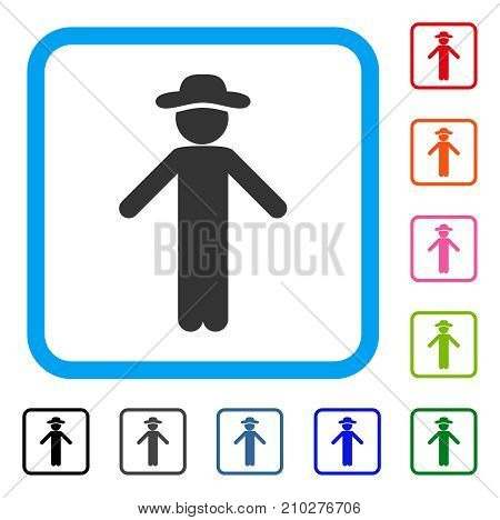 Gentleman Apology icon. Flat grey pictogram symbol in a light blue rounded frame. Black, gray, green, blue, red, orange color additional versions of Gentleman Apology vector.