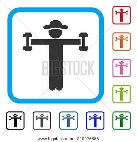 Gentleman Fitness icon. Flat gray pictogram symbol in a light blue rounded frame. Black, gray, green, blue, red, orange color variants of Gentleman Fitness vector.