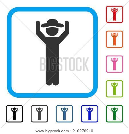 Gentleman Hands Up icon. Flat gray iconic symbol inside a light blue rounded square. Black, gray, green, blue, red, orange color variants of Gentleman Hands Up vector. Designed for web and app UI.
