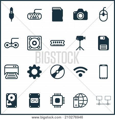 Hardware Icons Set. Collection Of Aux Cord, Joystick, Chip And Other Elements