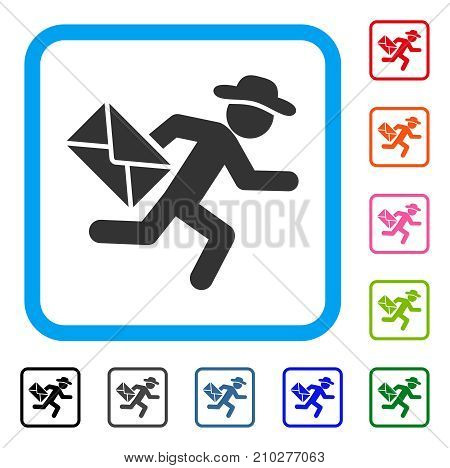 Gentleman Mail Courier icon. Flat gray pictogram symbol in a light blue rounded rectangular frame. Black, gray, green, blue, red, orange color variants of Gentleman Mail Courier vector.