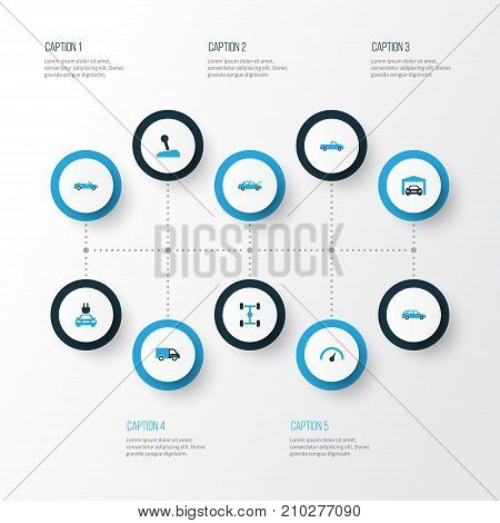 Car Colorful Icons Set. Collection Of Speedometer, Electric Car, Pickup And Other Elements