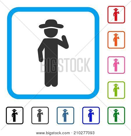 Gentleman Opinion icon. Flat grey pictogram symbol in a light blue rounded frame. Black, gray, green, blue, red, orange color variants of Gentleman Opinion vector. Designed for web and app interfaces.