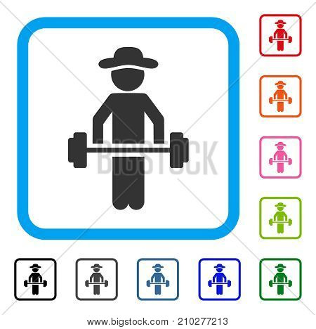 Gentleman Power Lifting icon. Flat gray pictogram symbol in a light blue rounded rectangle. Black, gray, green, blue, red, orange color additional versions of Gentleman Power Lifting vector.