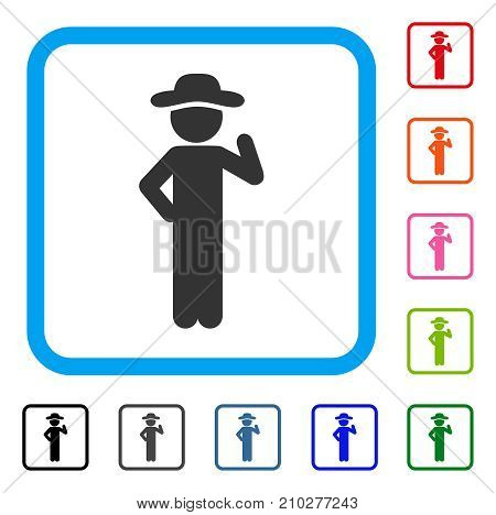 Gentleman Proposal icon. Flat grey pictogram symbol in a light blue rounded rectangle. Black, gray, green, blue, red, orange color variants of Gentleman Proposal vector. Designed for web and app UI.