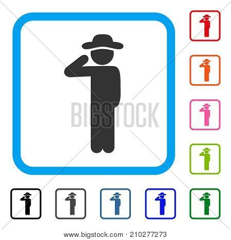 Gentleman Salute icon. Flat gray pictogram symbol inside a light blue rounded frame. Black, gray, green, blue, red, orange color additional versions of Gentleman Salute vector.