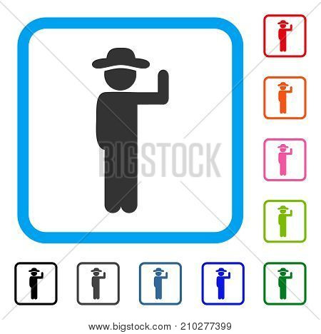 Gentleman Vote icon. Flat gray pictogram symbol inside a light blue rounded square. Black, gray, green, blue, red, orange color versions of Gentleman Vote vector.