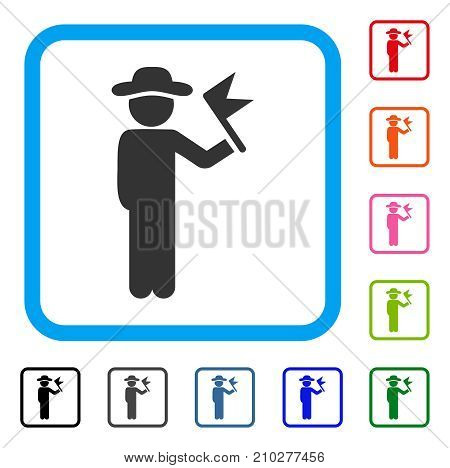 Gentleman With Flag icon. Flat grey iconic symbol in a light blue rounded rectangle. Black, gray, green, blue, red, orange color variants of Gentleman With Flag vector.