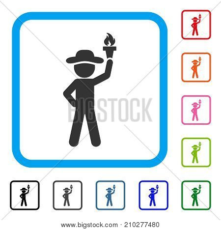 Gentleman With Freedom Torch icon. Flat grey iconic symbol in a light blue rounded rectangle. Black, gray, green, blue, red, orange color additional versions of Gentleman With Freedom Torch vector.