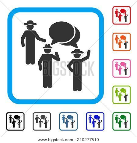 Gentlemen Discussion icon. Flat grey pictogram symbol inside a light blue rounded rectangular frame. Black, gray, green, blue, red, orange color additional versions of Gentlemen Discussion vector.