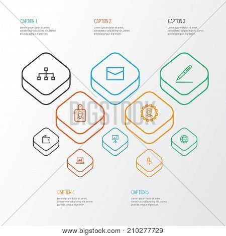 Business Outline Icons Set. Collection Of Manager, Statistics, Mail And Other Elements