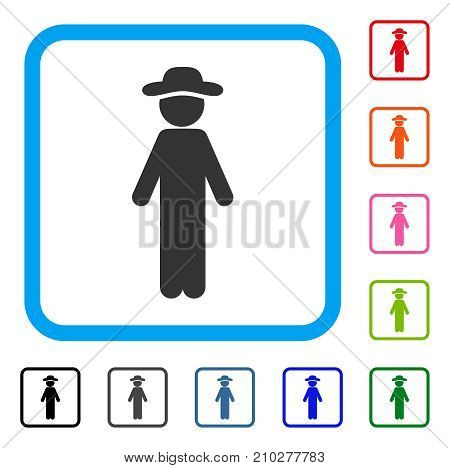 Standing Gentleman icon. Flat gray iconic symbol in a light blue rounded frame. Black, gray, green, blue, red, orange color variants of Standing Gentleman vector.