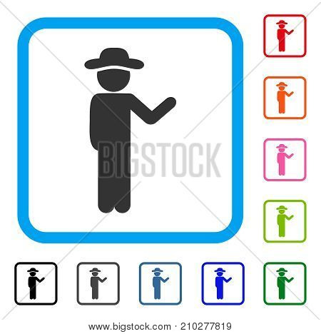 Talking Gentleman icon. Flat grey pictogram symbol inside a light blue rounded rectangle. Black, gray, green, blue, red, orange color additional versions of Talking Gentleman vector.